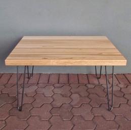 tablero alistonado de roble lama continua - mesa de madera maciza con patas metálicas- Maderas García Varona
