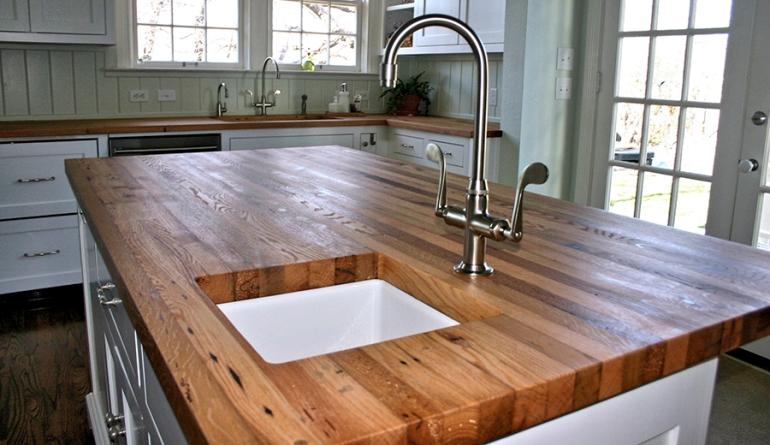 tablero alistonado de roble lama continua - encimera de madera para cocina - Maderas García Varona